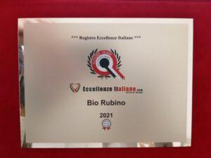 Targa Eccellenze Italiane Bio Rubino